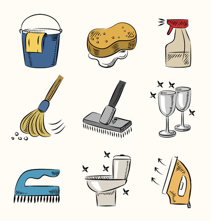 purely: vector hand draw cleaning icon set on beige