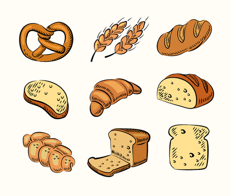 vector hand drawn bread icons set on beige Vector