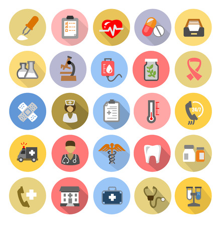 first aid: vector color medical icons set on white