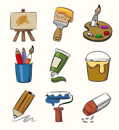 vector hand draw art icon set on beige Vector