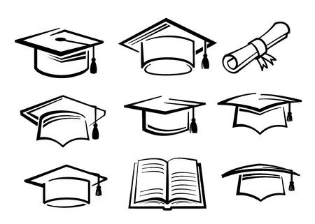 cappelli: vettore cappello di laurea nero simbolo di istruzione icona Vettoriali
