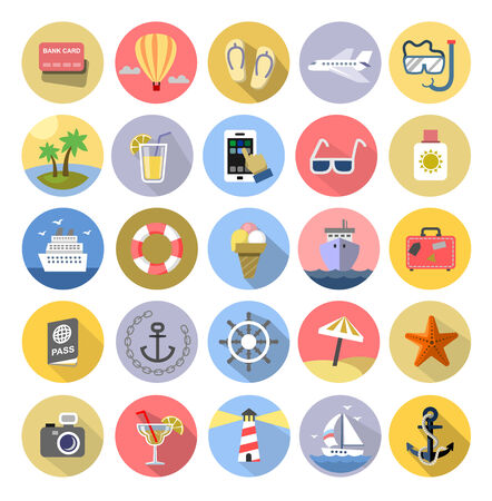 vector color Tourism icons set on white Vector