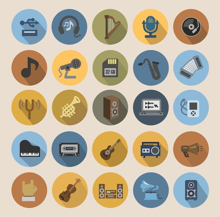 vector color music icons set on white Vector