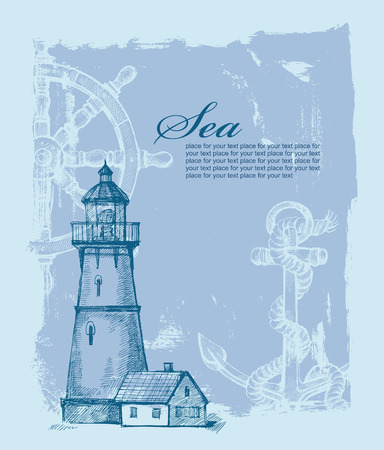 Lighthouse: vector hand drawn lighthouse on paint background Illustration