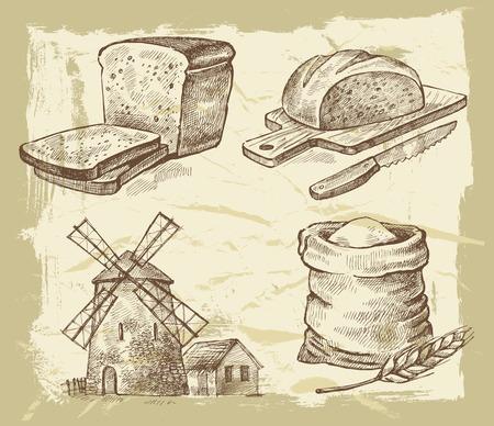 ベクトルは、ペイントの背景に描かれたパンを手します。  イラスト・ベクター素材