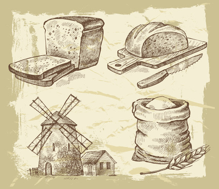 flour mill: vector hand drawn bread on paint background