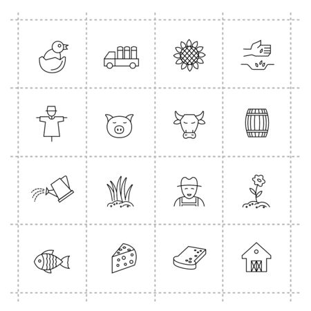 fish icon: vector black agriculture and farming icons set Illustration