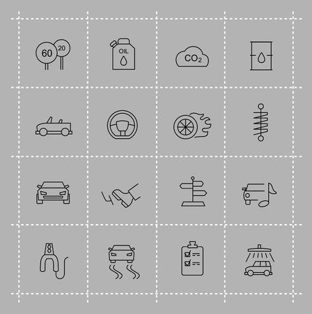 vector black auto icons set on gray Vector