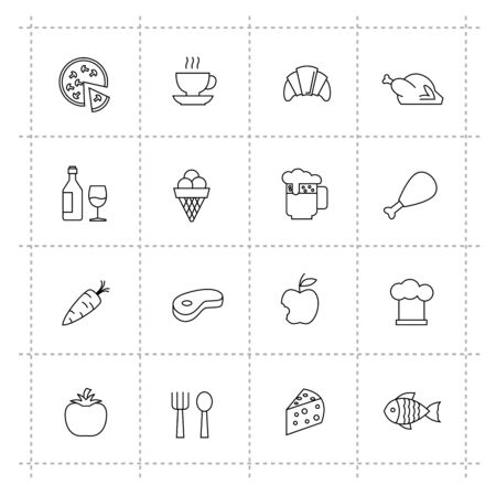 vector black pictogram food and kitchen icons set Vector