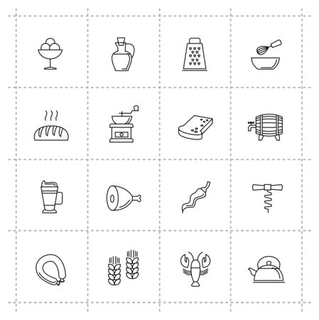 crab meat: vector black food and meal icons set