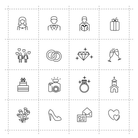vector black wedding icons set on white Illustration