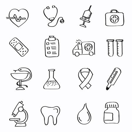 vector black Medicine and Heath Care icons Vector