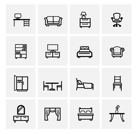 vector black furniture icons set on gray Vector