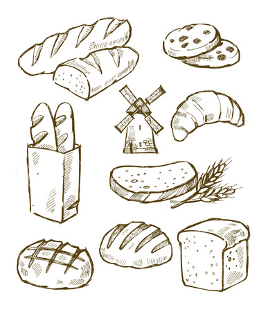 vector hand drawn bread icons set on white Vector