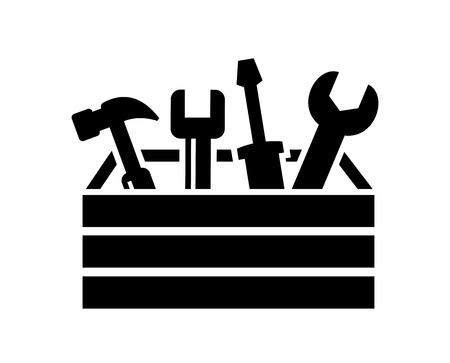 vector zwart gereedschapskist met gereedschap pictogram op wit Stock Illustratie