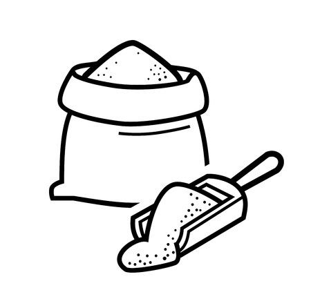 白のベクトル黒袋小麦粉アイコン  イラスト・ベクター素材