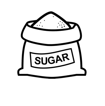 vector black sugar bag icon on white Illusztráció