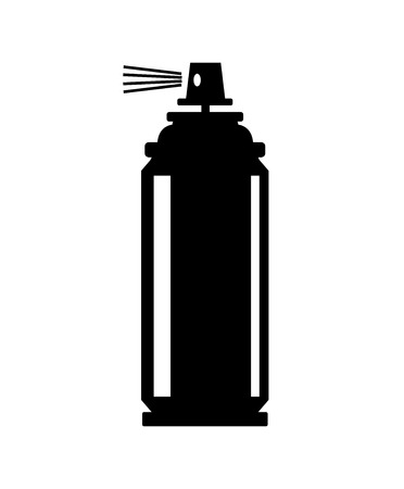 paint container: vector black spray can icon on white