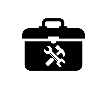 toolbox: vector black toolbox icon on white background Illustration