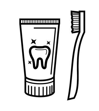 vector black toothbrush and toothpaste icon set Vector
