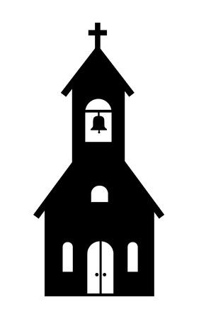 白地に黒の教会のアイコンをベクトルします。  イラスト・ベクター素材