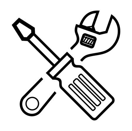 vector zwarte schroevendraaier en moersleutel op wit