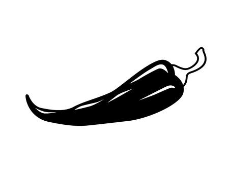vector black chilli pepper icon on white Vector