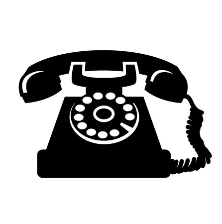 vector black vintage telephone icon on white