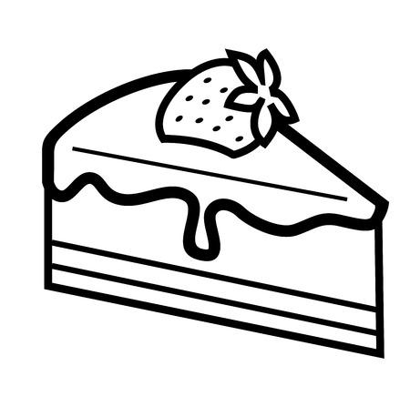 Vector schwarz Stück Schokoladenkuchen auf weißem