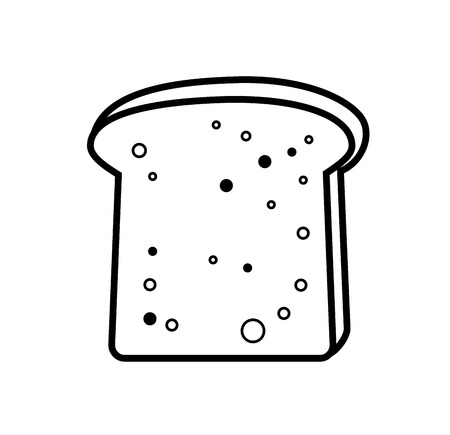 french toast: vector black toast bread icon on white