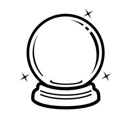ball: vector icono de la bola de cristal negro sobre blanco
