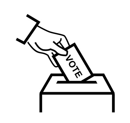 votes: vector black hand putting a voting ballot on white