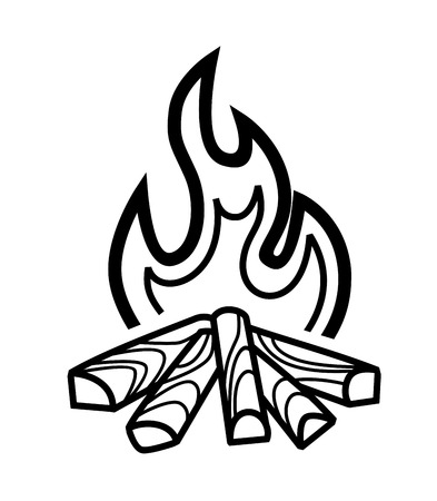 bonfire: vector black campfire icon on white background