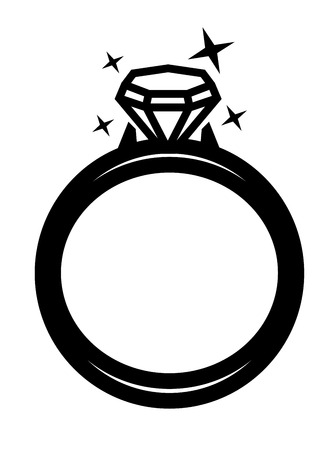 vector black ring with diamond icon on white backgorund