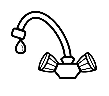 vector black water tap icon on white Vector