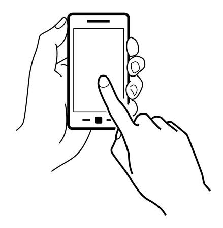 白い背景の上のベクトル黒携帯電話アイコン