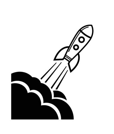 vector black Rocket icon on white background Vector