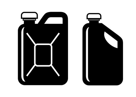 petrol can: vector black gas can icon on white background