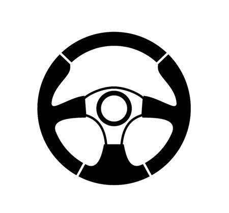 vector black steering wheel on white background