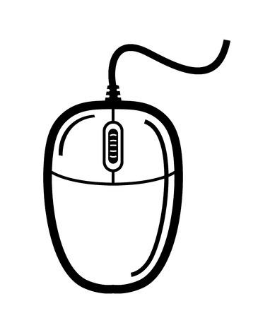 vector zwarte computer muis op een witte achtergrond Stock Illustratie