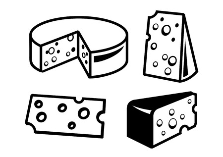 vector black cheeses icon on white background 向量圖像