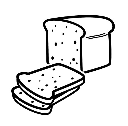 wholemeal: vector black bread loaf icon on white background
