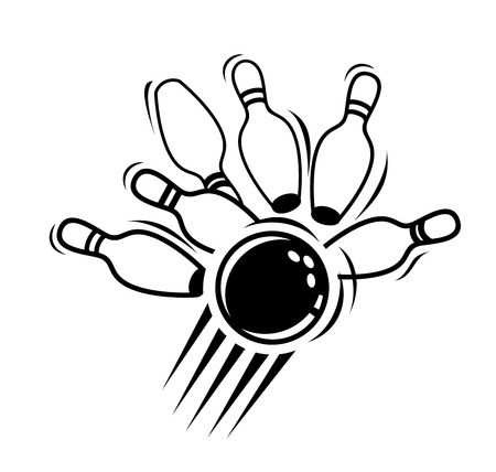 bowling alley: vector black bowling icon on white background