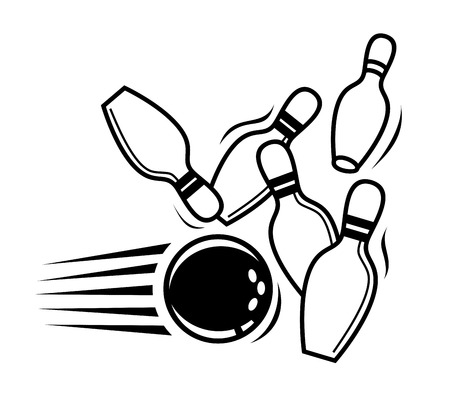 vector black bowling icon on white background