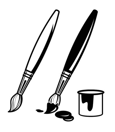 vector black paint brush icon on white background Çizim