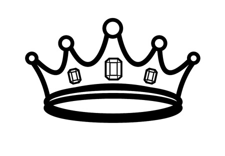 vector black crown icon on white background