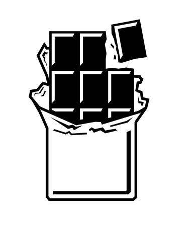 vector zwarte chocoladereep pictogram op witte achtergrond Stock Illustratie