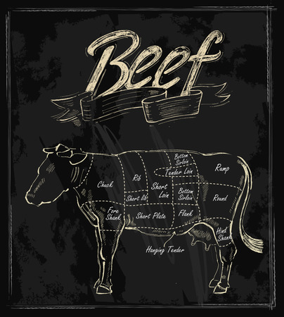 steaks: vector hand drawn beef cuts chart on black Illustration