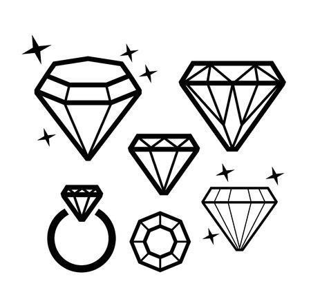 karat: vector black Diamond icons on white background