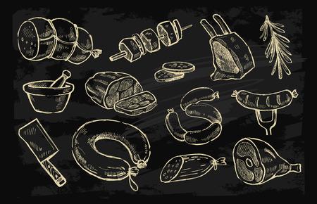 éléments de viande dessinés à la main vecteur mis sur le noir